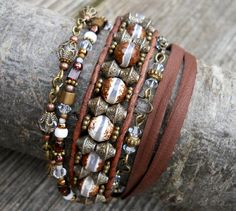 Smokey Layers / Dzi Beaded Leather Wrap Bracelet / by DeLucaArt, $54.00