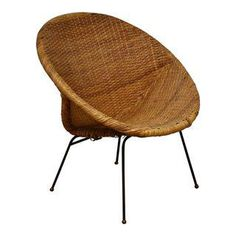 Etonnant Black Iron U0026 Wicker Atomic Saucer Disc Chair