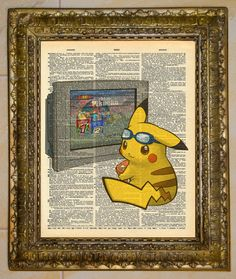 Vintage Dictionary Art Pikachu With Blue Goggles.  by atthedrivein