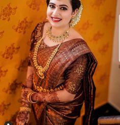 Bridal Sarees South Indian, Bridal Silk Saree, Indian Bridal Fashion, South Indian Bride, Saree Wedding, Silk Sarees, Kerala Wedding Saree, Net Saree, Lehenga Saree