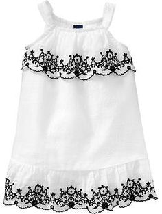 Embroidered Sundresses for Baby, oooooooo I really dig this style for dresses and cute tops. This would need a little sweater with it probably. So cute! Old Navy