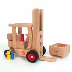 Working Forklift by Fagus of Germany: 3 peg figures & a box to lift & load. Awarded the Spiel Gut good toy designation. Many other fabulous, functioning wooden vehicles to choose from @ http://thewoodenwagon.com/Merchant2/merchant.mvc?Screen=CTGY_Code=TWW_Code=fagus-trucks