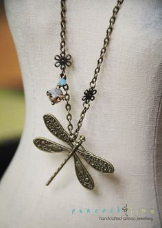 Vintageinspired Dragonfly necklace by peacock & by peacockandlime, $26.00