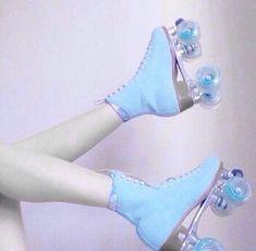 Pastel blue rollerskates