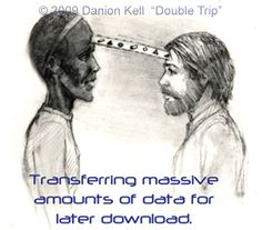 """""""After this, I was seated opposite the dark ET and he downloaded some sort of condensed """"packets of information"""" from his third eye area to mine. This process seemed to be more than telepathy in that I actually felt an opening in both of our foreheads."""" 