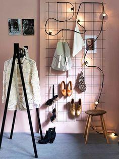 Clothes hanger, Iron, Furniture, Room, Floor, Interior design, Display case, Display window, Flooring, Retail, Storage Hacks, Shoe Storage, Storage Ideas, Storage Crates, Ideas Mancave, Home Depot, Interior Simple, Ikea Shoe, Boho Deco