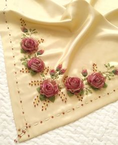 Wonderful Ribbon Embroidery Flowers by Hand Ideas. Enchanting Ribbon Embroidery Flowers by Hand Ideas. Hardanger Embroidery, Learn Embroidery, Hand Embroidery Patterns, Embroidery Stitches, Ribbon Embroidery Tutorial, Silk Ribbon Embroidery, Embroidery Supplies, Embroidery Kits, Ribbon Design