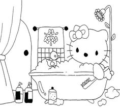 I love this picture of Hello Kitty in the bathtub - oh wait a second - I thought cats did not like water! Alphabet Coloring Pages, Coloring Books, Ninjago Dragon, Hello Kitty Bathroom, Ice Cream Coloring Pages, Hello Kitty Coloring, Dragon Coloring Page, Little Einsteins, Hello Kitty Images