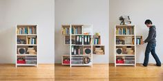 Né à Berlin en 1982, Yi Cong Lu est un jeune designer très prolifique. Je vous présente une de ses créations, le Growing Cabinet, qui comme son nom l'indique est évolutif et super pratique ! Contrairement à d'autres armoires, les tiroirs sont ici situés sur les côtés ce qui permet de doubler l'espace; lorsque l'on ouvre un tiroir, une zone se libère est offre un stockage temporaire si nécessaire. Ce genre d'interactions rend l'objet « vivant ».