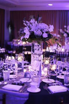 #reception #navywedding #weddingreception #bluelights #weddingdecor #whiteflowers #centerpieces wedding #weddings #bluewedding #decor #fancy #floral