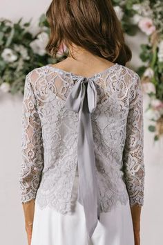 Haley Grey Bow Back Lace Top