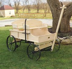 Amish Old Fashioned Buckboard Wagon - Large Rustic Wagon & Wheelbarrow Collection Bring festive fun to the garden all year round with this traditional buckboard wagon! Handmade by expert