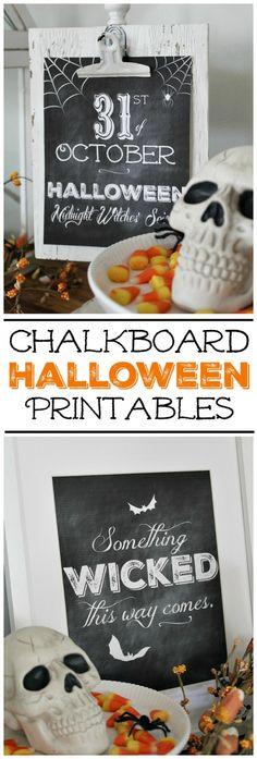 Free chalkboard Halloween printables. Love these!