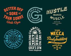 Jonathan SchubertさんはInstagramを利用しています:「TBT to some encouraging type for all the resolutioners out there - type designs for @goldsgym apparel」 Graphic Design Typography, Lettering Design, Branding Design, Display Lettering, Retro Logos, Vintage Logos, Vintage Graphic, Vintage Type, Vintage Decor