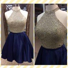 AH004 Princess Halter High Neck Shinny Rhinestone Beaded Navy Taffeta Homecoming Dresses 2017 Short Prom Dresses