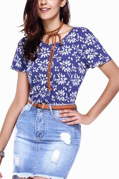 $9.52 Sweet Round Neck Flower Print Relaxed T Shirt For Women