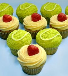 Tennis cupcakes as posted on the Kate and Chelsie blog. Bet my sister will like this one!