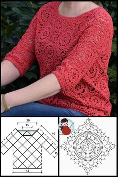 Cardigan Au Crochet, Crochet Coat, Crochet Cardigan, Crochet Shawl, Crochet Clothes, Crochet Motifs, Crochet Diagram, Crochet Stitches, Crochet Patterns
