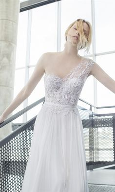 Mira Zwillinger one shoulder wedding dresses 2016 stardust Crystal