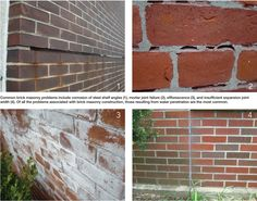 Common problems in brick veneer cavity walls include corrosion, mortar joint failure, efflorescence, and displacement. Masonry Construction, Brick Masonry, Cavities, Tile Floor, Walls, Brickwork, Dental Caries, Tile Flooring