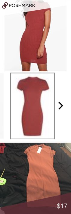 "Rib Bodycon Dress with Mock Neck A red mock neck Bodycon dress in rib knit. Color is this orange-red color! Brand new never been worn! Still has tags! Brand is Boohoo! MEASUREMENTS: Armpit to armpit: 14"" (material stretches) From top to bottom: 33"" Boohoo Dresses Mini"