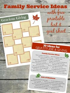 Free printable list & goal sheet for Family Service Projects acts of kindness & ways to help others during the holidays! Great for families scout troops honor society and church group volunteer ideas for kids tweens teens and families. Thanksgiving Service, Christmas Service, Thanksgiving Preschool, Thanksgiving Ideas, Christmas 2015, Learning Activities, Kids Learning, Activities For Kids, Christmas Activities