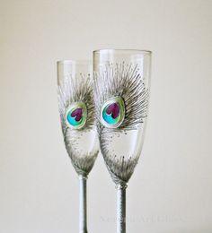 Hologram Silver Wedding Glasses Peacock Glasses Silver Glasses by NevenaArtGlass, $52.00 #silver #wedding #bridal #toasting #wine #peacock