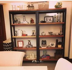 New design alert! These solid shelves are made of neem wood, and are definite eye-catchers! Making a statement at a client's home...  #industrial #furniture #interior #decor #style #bookshelf #theatticdubai