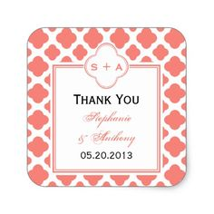 Coral Pink Quatrefoil Pattern Wedding Thank You Square Sticker