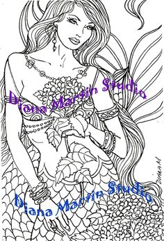 items similar to blue delight digital stamp mermaid fantasy coloring book on etsy - Mermaid Coloring Pages Adults