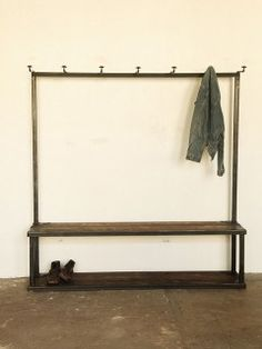 Storage: Coat Rack Bench at Strawser & Smith in Brooklyn - Remodelista Coat Rack Bench, Bench Coats, Hallway Coat Rack, Hallway Storage, Entry Bench, Hall Bench, Home And Deco, Home Organization, Organizing
