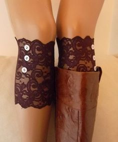 Burgundy lace boot cuffs with button boho boot socks lace cuffs women's accessory leg warmer