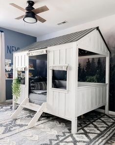 Camp out while staying indoors! Swipe for a look at the inside of the coolest little cabin!✨ 📷: ⠀⠀⠀⠀⠀⠀⠀⠀⠀ Modern Gray is in stock in Twin, Full, Queen and King! Boys Room Decor, Bedroom Decor, Floral Bedroom, Bedroom Ideas, Deco Jungle, Zipper Bedding, Ikea, Little Cabin, Gris Rose
