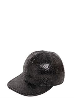 STELLA McCARTNEY SNAKE EMBOSSED FAUX LEATHER BASEBALL HAT