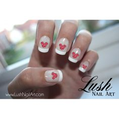 Mickey Mouse Ears with Red and Pink Hearts Valentines Disney Nail Art Water Transfer Decal