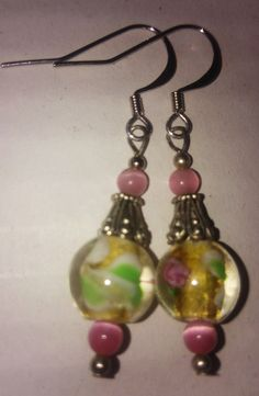 Pink Flower Glass & Tiger Eye beaded by designsNcraftsbyLizD