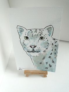 OSWOA Snow Leopard Original Watercolour  Ink Painting 4x6 OOAK by Claire Sherwen at Folksy.com