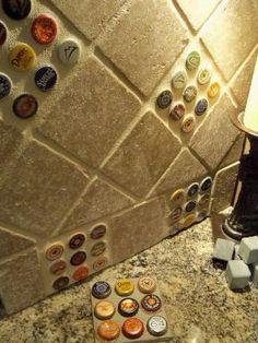 Cool bottle cap backsplash tile idea for a home bar or game room. Beer Caps, Ideias Diy, Bar Areas, Basement Remodeling, Basement Ideas, Basement Bar Designs, Kitchen Remodeling, Game Room, Home Projects