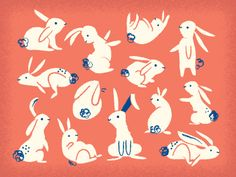 Illustration with animals Art And Illustration, Rabbit Illustration, Pattern Illustration, Illustrations And Posters, Graphic Design Illustration, Bunny Art, Woodland Creatures, Animal Design, Art Inspo