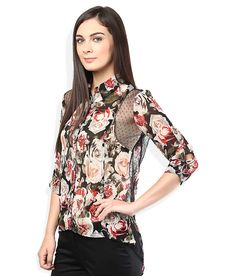 Wills Lifestyle Black & Red Floral Printed Shirt Wills Lifestyle, Everyday Look, Floral Prints, Feminine, Printed, Blouse, Red, Stuff To Buy, Shirts