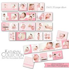 0745 Kathryn Collection - 10x10 album and 3x3 mini accordion album - Perferct for baby, engagement, children