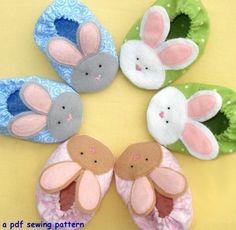 Bebé conejito zapatillas PDF costura patrón 3 por patternplay
