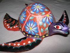 Oaxacan sea turtle Mexican folk art wood carving by PuechIkots, $45.00