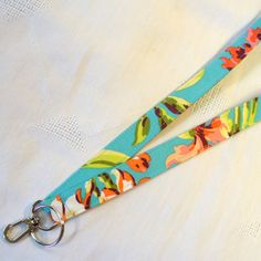 Fabric Lanyard ID Badge Holder Breakaway Lanyard Amy Butler Bliss Bouquet Teal Turquoise ID Clip Key Ring Fob Turquoise Pink Lime MTO