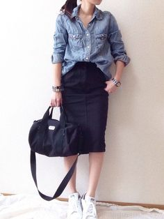 New Skirt Outfits Casual Chambray Ideas Spring Fashion Outfits, Look Fashion, Korean Fashion, Tokyo Fashion, Runway Fashion, Womens Fashion, Fashion Trends, Modest Outfits, Skirt Outfits