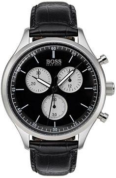 Uhren Herren Hugo Boss Black Hugo Boss Black Companion Black Dial Black Leather Strap Mens Watch