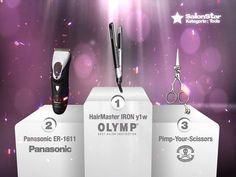 "Hier sind sie, Eure ""Hairdressers most voted"" die SalonStars 2013 in der Kategorie Tools:    1. HairMaster IRON y1w  - OLYMP  2. Panasonic ER-1611  - Panasonic  3. Pimp-Your-Scissors  - Pimp-Your-Scissors"