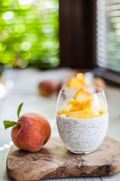Chia pudding with peaches