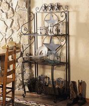 Western Kitchen Rack: There are virtually unlimited possibilities for the metal Lone Star Baker's Rack with dark brown finish. Three shelves provide storage, while star, scroll and barbed wire accents give a great western look. Cabin Furniture, Western Furniture, Dining Room Furniture, Rustic Furniture, Baker Furniture, Furniture Sets, Furniture Design, Western Kitchen Decor, Country Decor