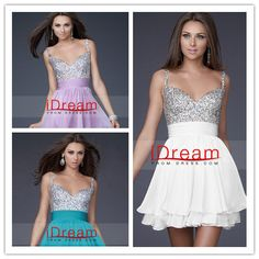 Collection A Line V Neck Beads Sequins Chiffon Homecoming Dresses